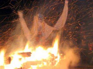 burning figure in fire