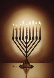 Menorah with 9 lit candles