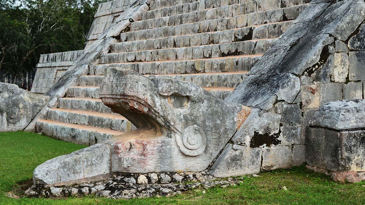 detail of El Castillo pyramid at Chichen Itza