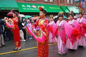 women in Lunar New Year parade
