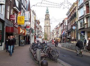 rows of bicycles on a Groningen street