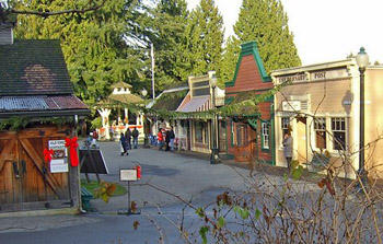 Christmas ribbons decorate Burnaby Village Museum street