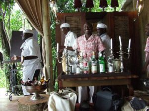 champagne service on the African plain