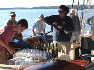 serving wine on the boat