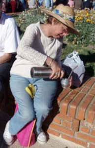 pouring mate from thermos