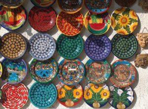 Mexican pottery in a San Patricio Melaque shop