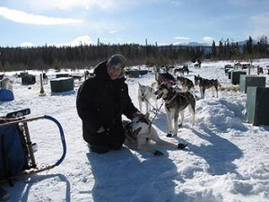woman with sled dogs in snow