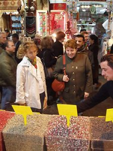 shoppers in an Istanbul market