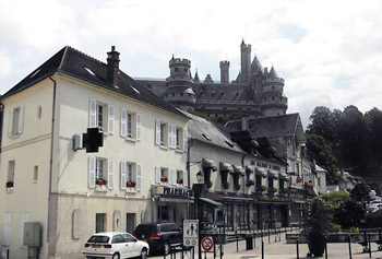 view of Pierrefonds castle from town