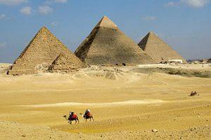 riding camels at Giza pyramids