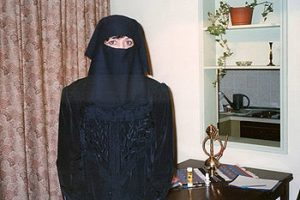 the author wearing a burkakha