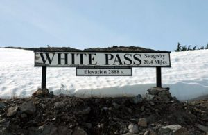 sign at summit of White Pass