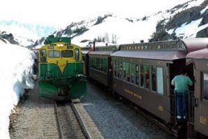locomotive and passenger cars of White Horse & Yukon railway
