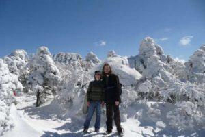 the author, Lee Beavington, and his friend Jen at Mount Halla