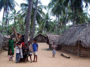 family in village in Sri Lanka