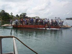 heavily loaded ferry in Sri Lanka