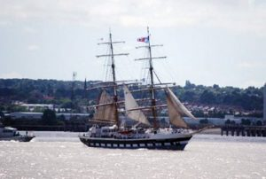 tall ship sailing in Liverpool harbor