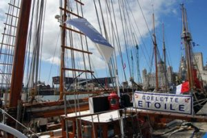deck and rigging of a French tall ship