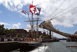 tall ship at dock in Liverpool