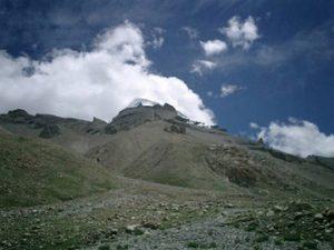 the triangular peak of Mt. Kailash