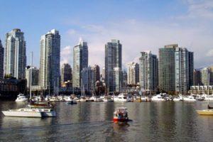 Aqua bus water taxi crossing Vancouver's False Creek