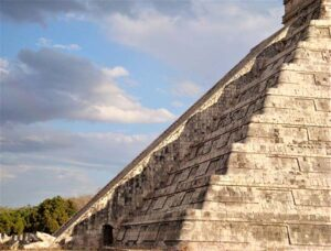 close up of serpent shadow on Chichen Itza